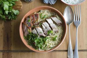 Roast meat with noodles