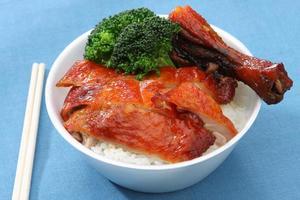 barbacoa de pato asado sobre arroz