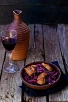 cabbage salad with duck breast