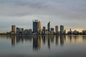 Perth City Skyline on a Cloudy Morning