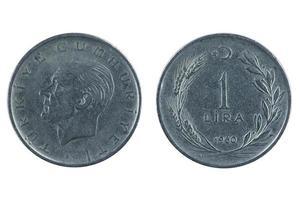 lira de moneda de pavo foto