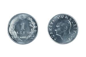 Moneda de Turquía aislado foto