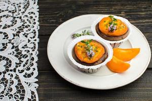 Chocolate apricot mini tarts with rosemary and lemon thyme