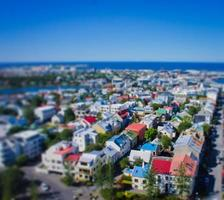 Beautiful wide-angle aerial view of Reykjavik, Iceland harbor and skyline