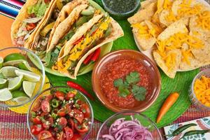 Colorful Traditional Mexican food dishes photo