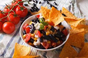 Mexican cuisine: tasty salsa and corn chips nachos close-up. Hor