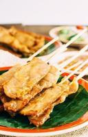 Pork Satay on wooden background