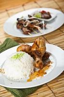 Chicken curry and pork satay