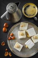 Turkish delight. Eastern dessert with hazelnut and coffee