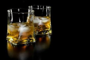 two glasses of whiskey with ice with space for text photo
