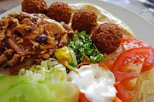 Shawarma and falafel with salad and hommos