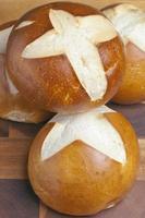 Pretzel buns, freshly baked
