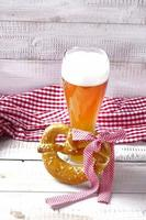 Wheat beer with red and white tablecloth