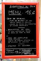 menu en france
