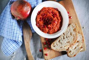 Ajvar roasted red bell pepper dip or muhammara spread