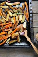 Delicious vegetables on a baking sheet