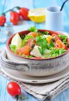 salad with salmon, lettuce, boiled eggs, cherry tomatoes, parmesan cheese