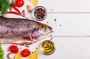 Raw trout with spices on a light  background photo