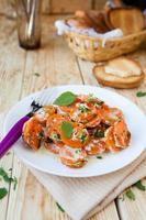 guarnición de zanahorias y crema agria foto
