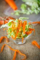 salad of fresh chopped cabbage and carrots photo