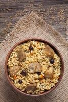 Spicy traditional arabic national rice food pilaf cooked with fried