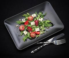 Strawberry tomato salad, feta cheese photo