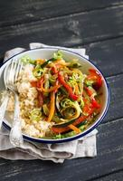 rice with roasted vegetables in Asian style