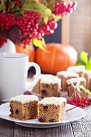 Pumpkin and carrot cake with cream cheese photo