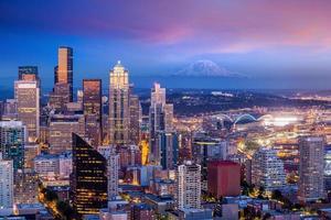 Seattle skyline panorama at sunset photo