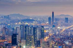 Seoul city and Yeouido at Night, South Korea. photo