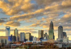 Skyline of Uptown Charlotte at Sunset photo