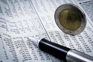 financial report with coins