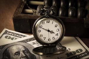 Time is money,vintage color photo