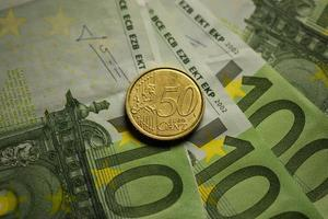Euro coins and banknotes money.