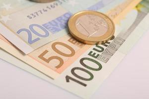 Closeup of euro banknotes and coins photo