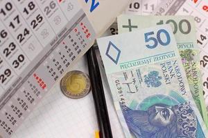 calendar cards and polish money