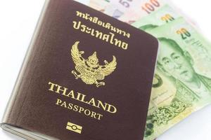 passaporte da Tailândia com dinheiro tailandês
