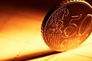 50 euro cent coin in red tone. photo
