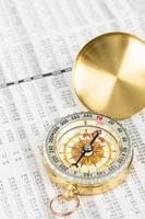 Compass on stock price report investment concept