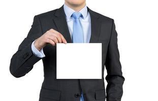 businessman holding poster