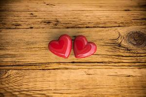 Two red hearts photo