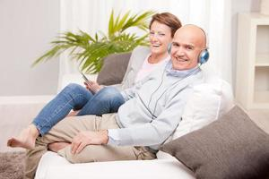 leisure time of a mature couple at home photo