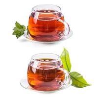 Set of cups with tea photo