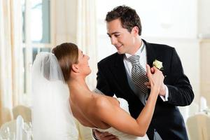 A bride and groom dancing at their wedding photo