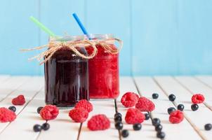 Rustic Mason Jars with raspberry jam and bog bilberry marmalade