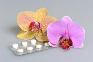 Two orchid flowers with film-coated tablets on gray photo