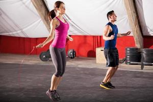 Exercising with a jump rope photo
