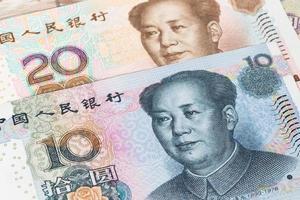 dinheiro chinês yuan notas close-up