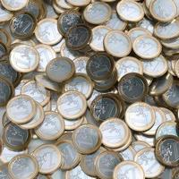 Fondo de monedas de euro (imagen conceptual de dinero) foto