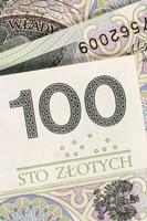 Hundred zloty polish money banknotes background